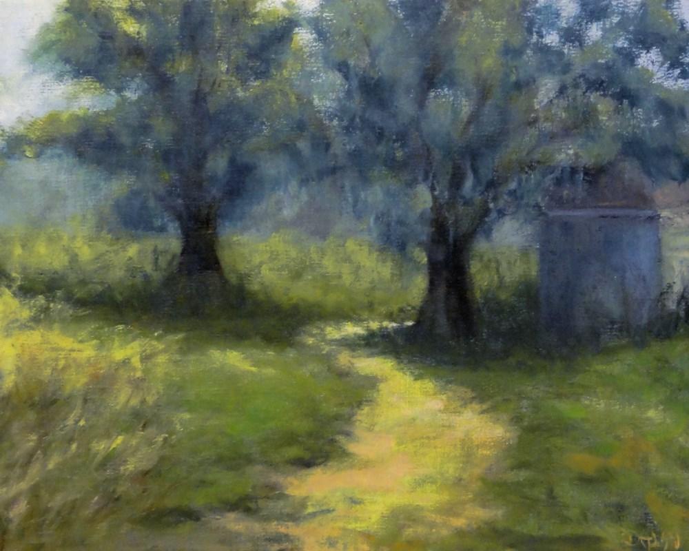 """""""Shade In The Tall Grass Plein Air"""" original fine art by Dalan Wells"""