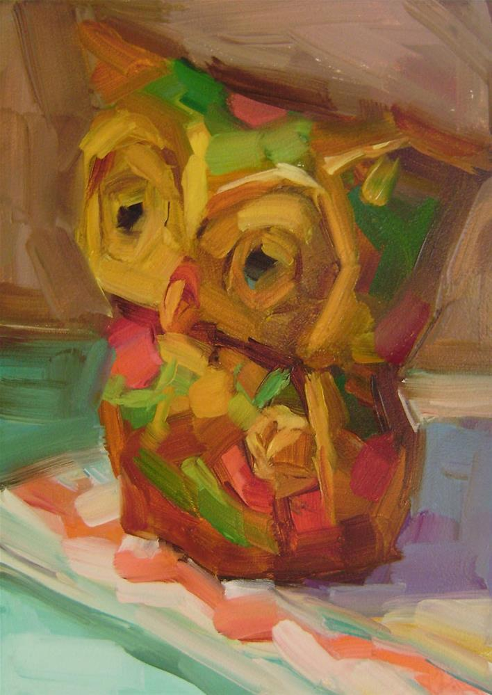 """Owl Figurine"" original fine art by Holly Storlie"