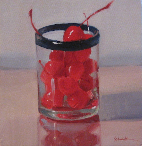 """Cocktail Cherries - still life oil painting fruit"" original fine art by Sarah Sedwick"
