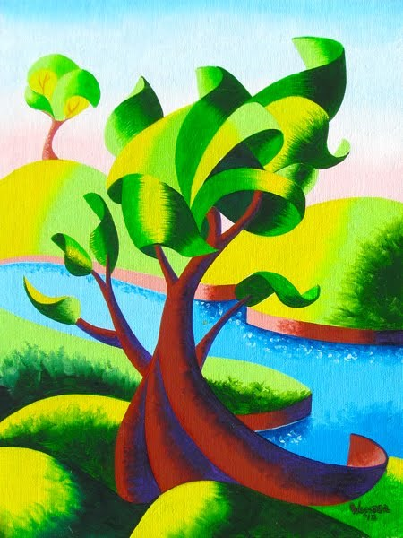 """Mark Webster - Abstract Geometric Landscape Oil Painting"" original fine art by Mark Webster"
