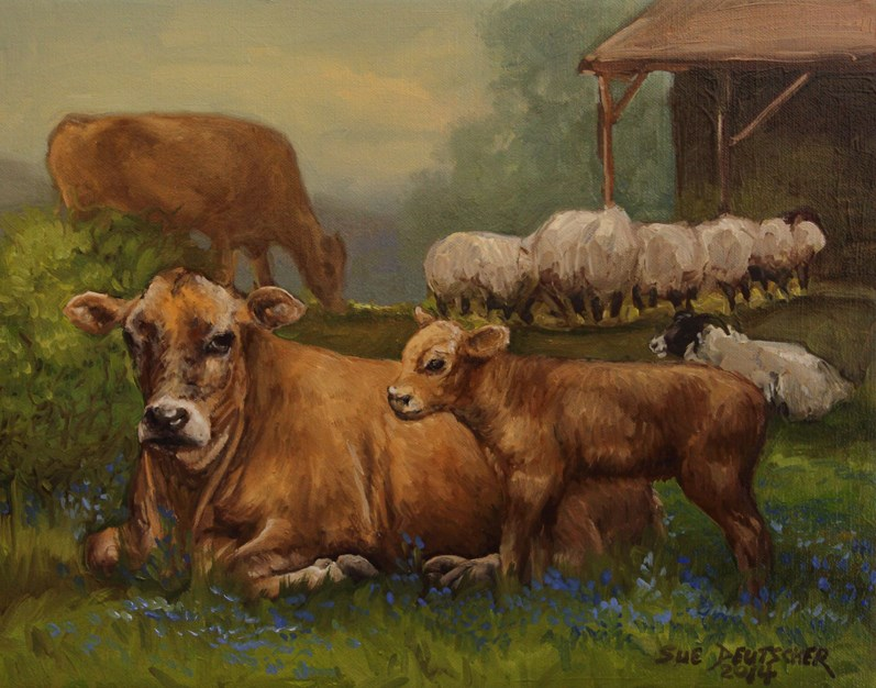 """Jersey Cows and Sheep"" original fine art by Sue Deutscher"