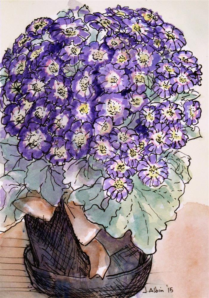 """Purple Posies"" original fine art by Jane Albin"