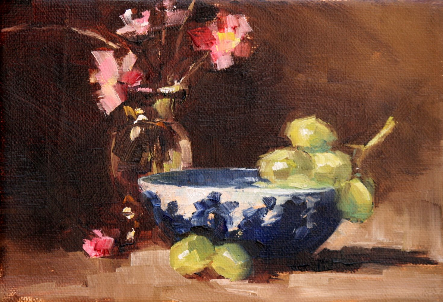 """green grapes in wedgewood"" original fine art by Carol Carmichael"