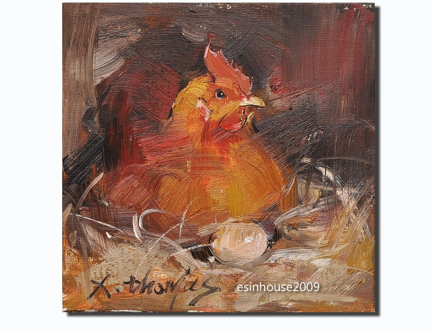"""hen"" original fine art by Thomas Xie"