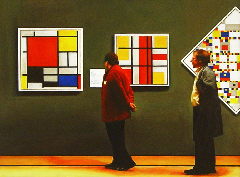 """Tic Tac Toe- Men Enjoying Paintings By Piet Mondriaan"" original fine art by Gerard Boersma"