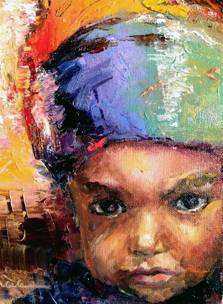 """Rasta Child Portrait"" original fine art by Marcia Hodges"