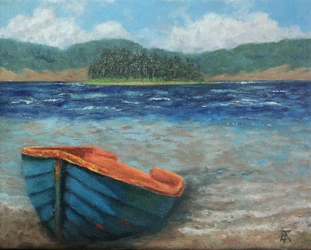 """Boat Ashore"" original fine art by Elizabeth Elgin"