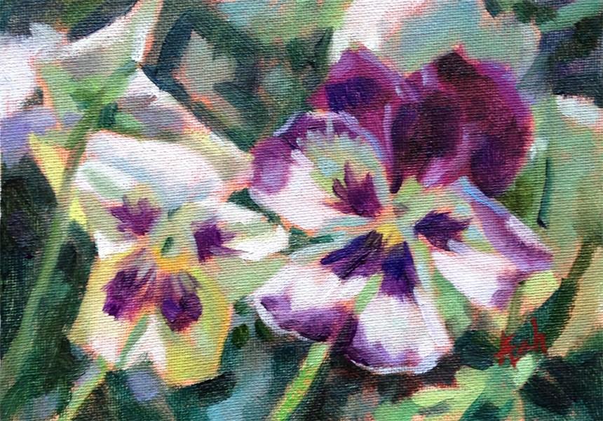 """""""Two pansies"""" original fine art by Audra Esch"""