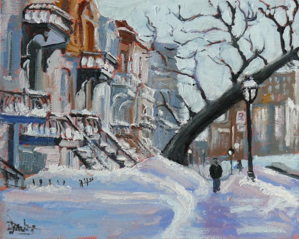 """593 Montreal Village Snow Scene, Rue Sherbrooke Est"" original fine art by Darlene Young"