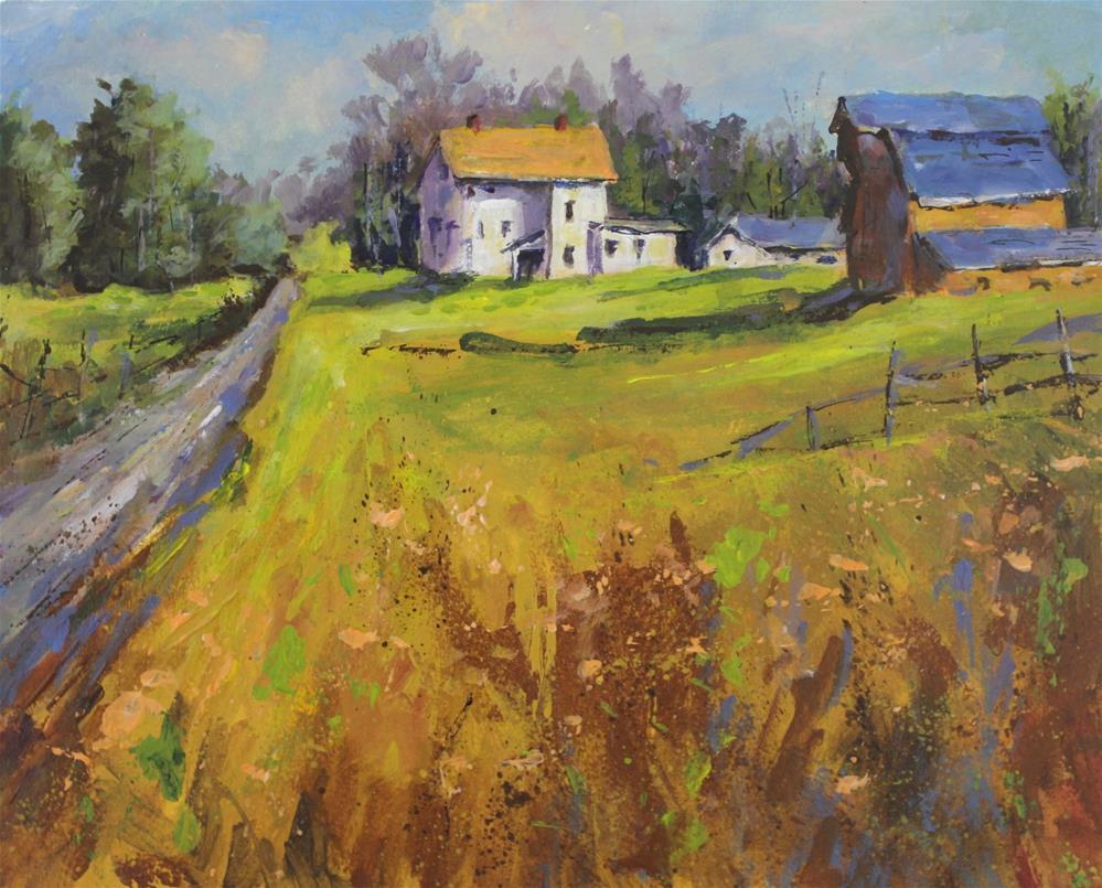 """Original acrylic barn farm landscape painting"" original fine art by Alice Harpel"