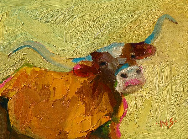 """Texas Longhorn 13013 SOLD"" original fine art by Nancy Standlee"