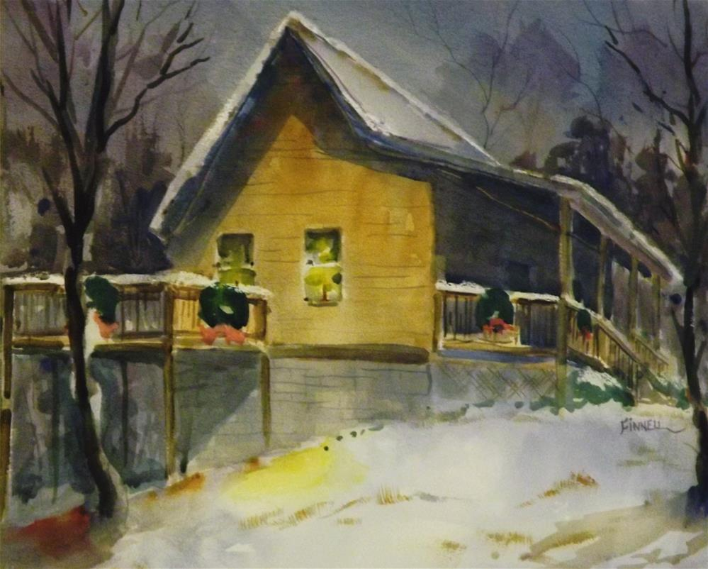 """Christmas Cabin"" original fine art by David Finnell"
