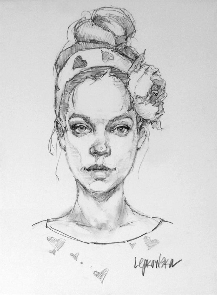 """""""The Flower Girl Series - 5"""" original fine art by Laurie Johnson Lepkowska"""