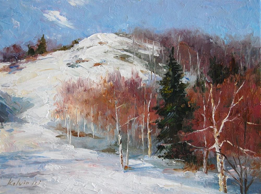 Winterly original fine art by Kelvin Lei