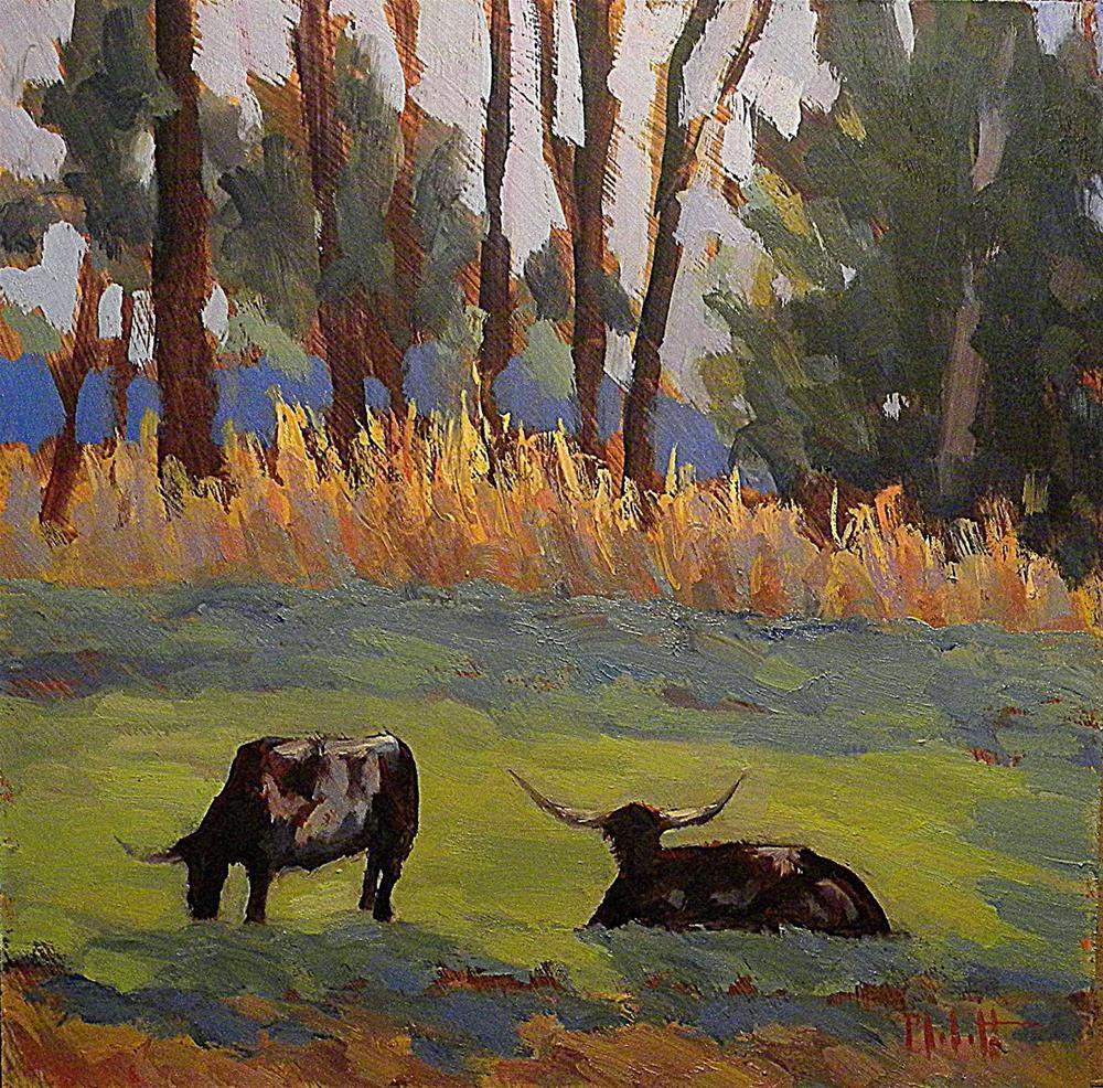 """Longhorns 8x8 Daily Oil Painting Heidi Malott"" original fine art by Heidi Malott"