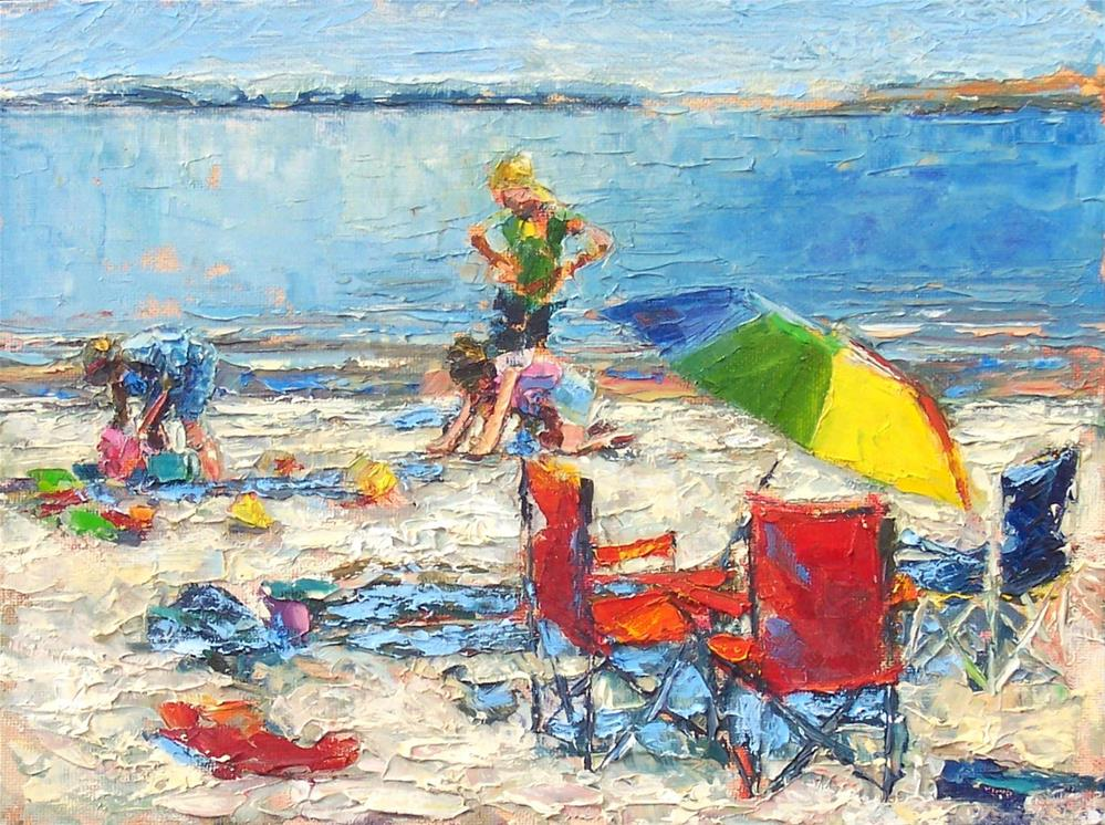 """On the Beach,figure,oil on canvas,9x12,price$200"" original fine art by Joy Olney"