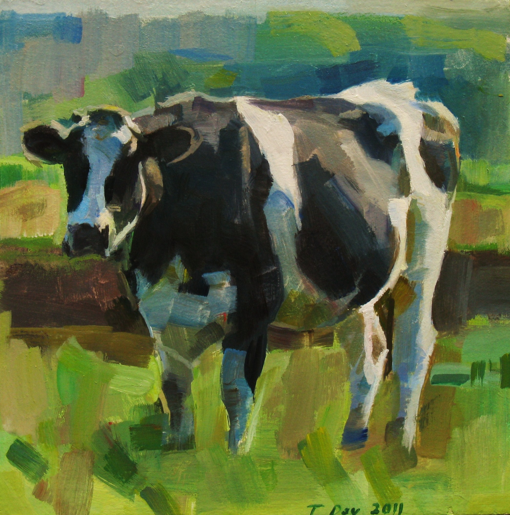 The Friendly Cow original fine art by Taryn Day