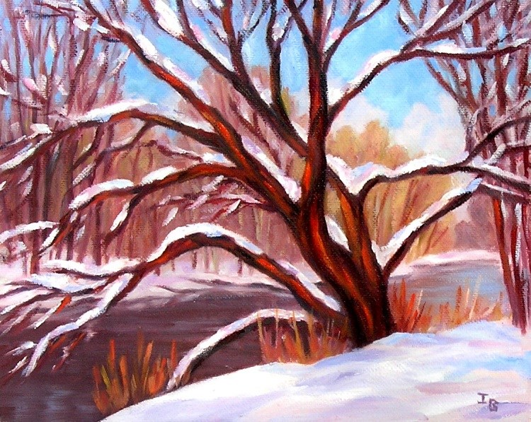 """Red Cedar River after Snowfall"" original fine art by Irina Beskina"