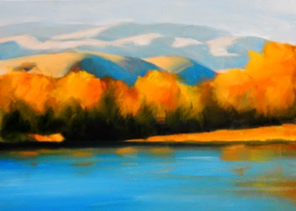 """October, Missouri River"" original fine art by Carolyn Caldwell"