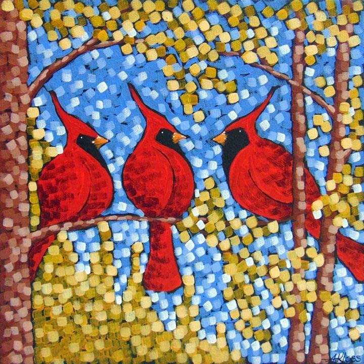 """""""Cardinals in Gold"""" original fine art by Aaron Kloss"""