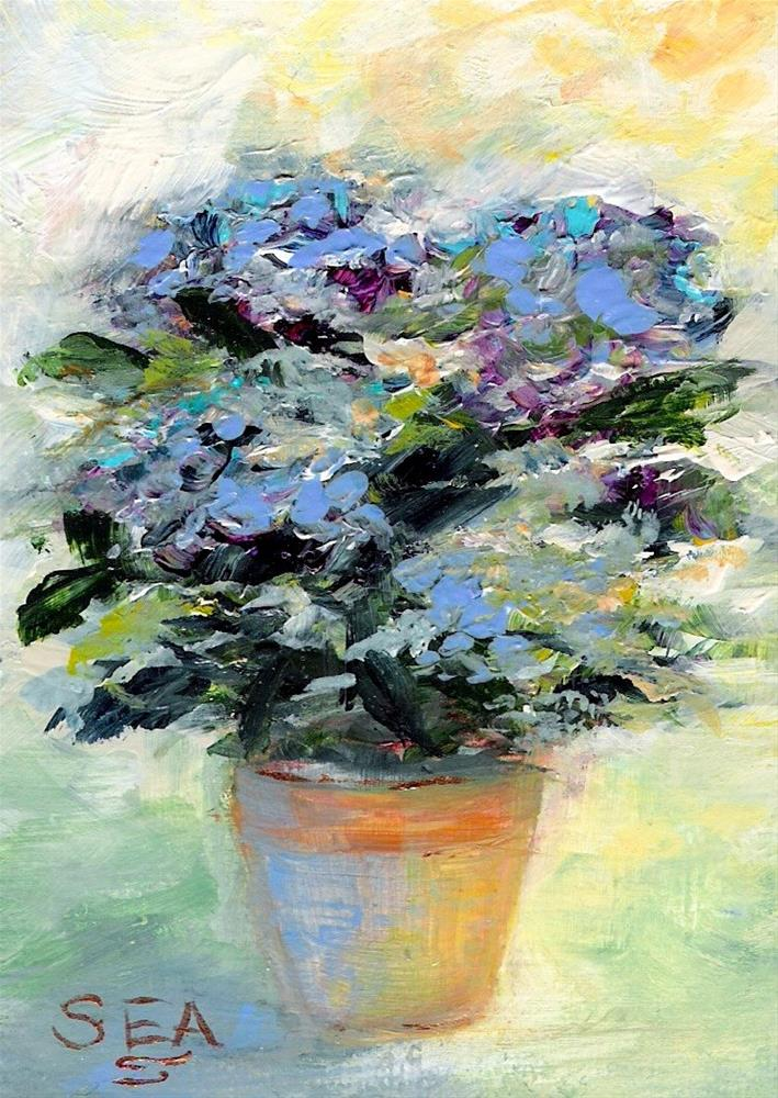 """3040 - Framed - TEA AND HYDRANGEAS - ACEO Series"" original fine art by Sea Dean"