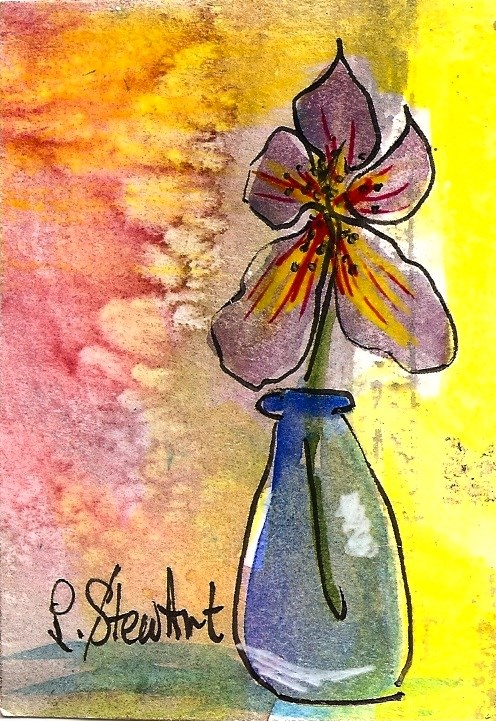 """ACEO, Purple Iris in a Milk Bottle Acrylic, Pen & Watercolor Mixed Media OOAK"" original fine art by Penny Lee StewArt"