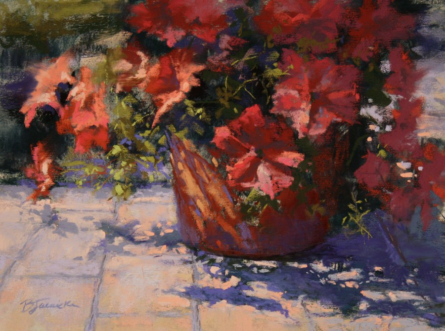 """Front Porch Petunias"" original fine art by Barbara Jaenicke"