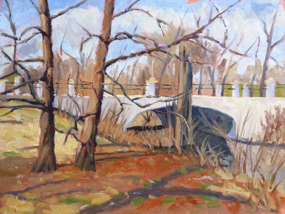 """Bridge Near Muny II en plein air"" original fine art by Daniel Fishback"