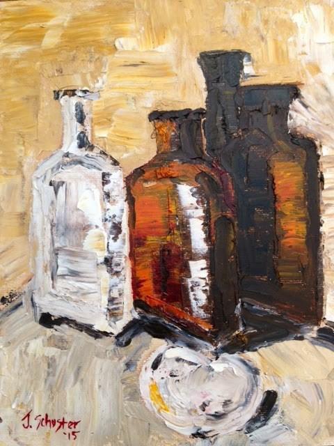 """""""Palette Knife Bottles and a Heart"""" original fine art by Juli Schuster"""