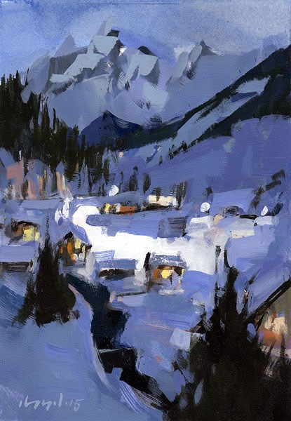 """Snowy Night - Quick Study"" original fine art by David Lloyd"