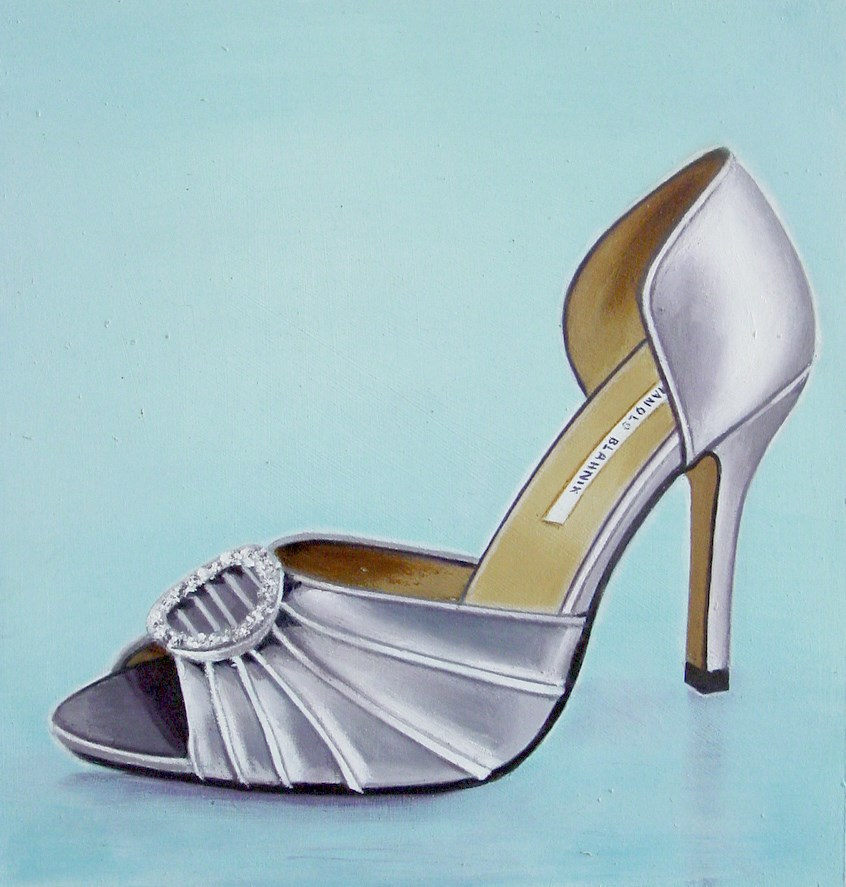 """Manolo Blahnik 1 - Still Life Painting Of Women High Heels Silver Manolo Blahnik Shoe"" original fine art by Gerard Boersma"