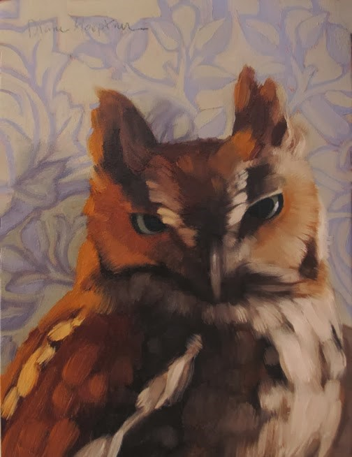 """Indoor Owl a wildlife bird painting on pattern"" original fine art by Diane Hoeptner"