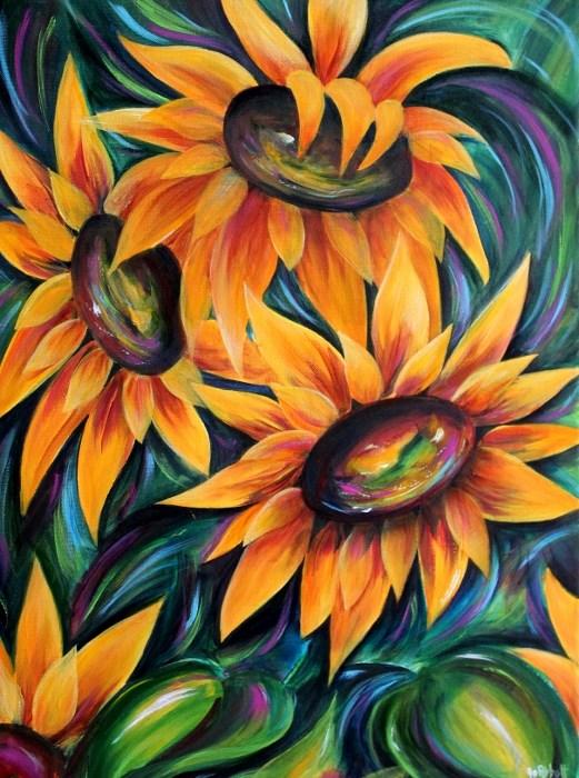 """Dancing Sunflower"" original fine art by Joanne Abbott"