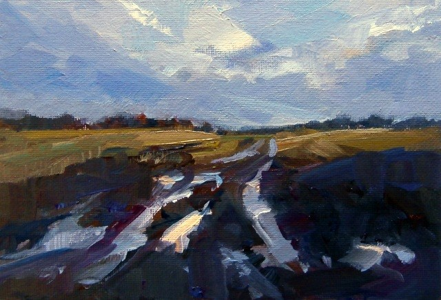 """Ruts and Puddles"" original fine art by Anne Wood"