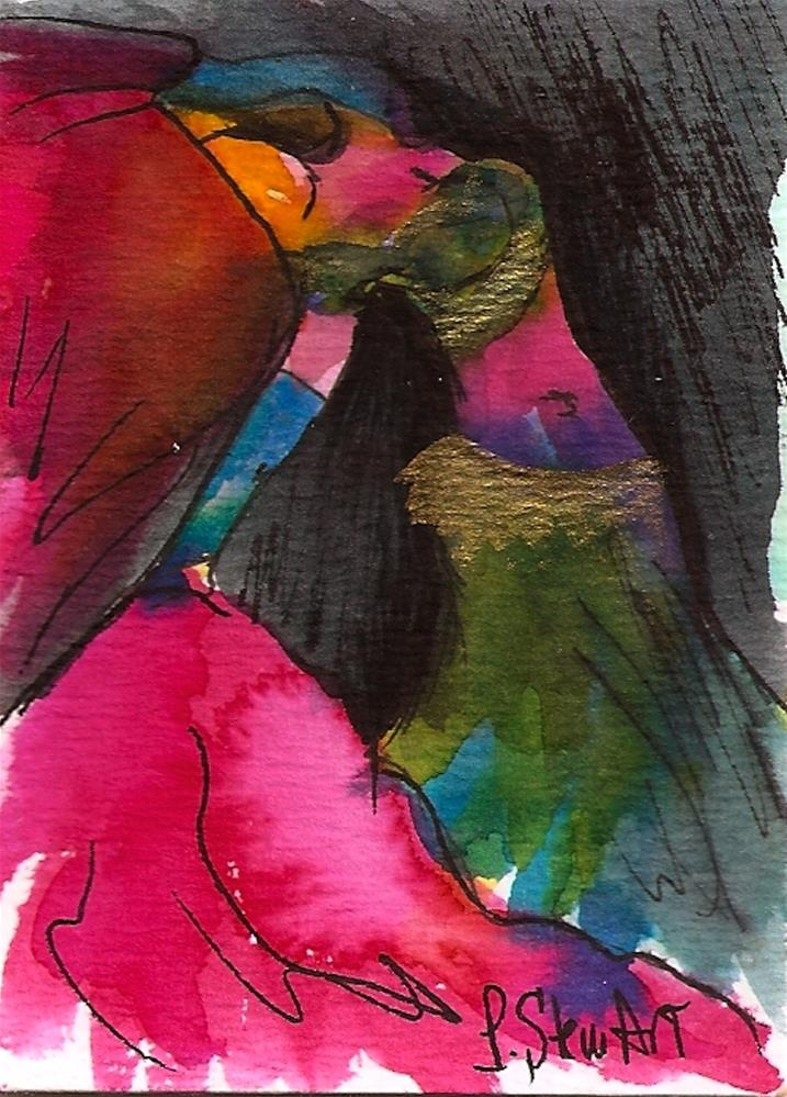 """ACEO Bellydancer #23, Watercolor and Pen, Bright Colors, with Pink Veils"" original fine art by Penny Lee StewArt"
