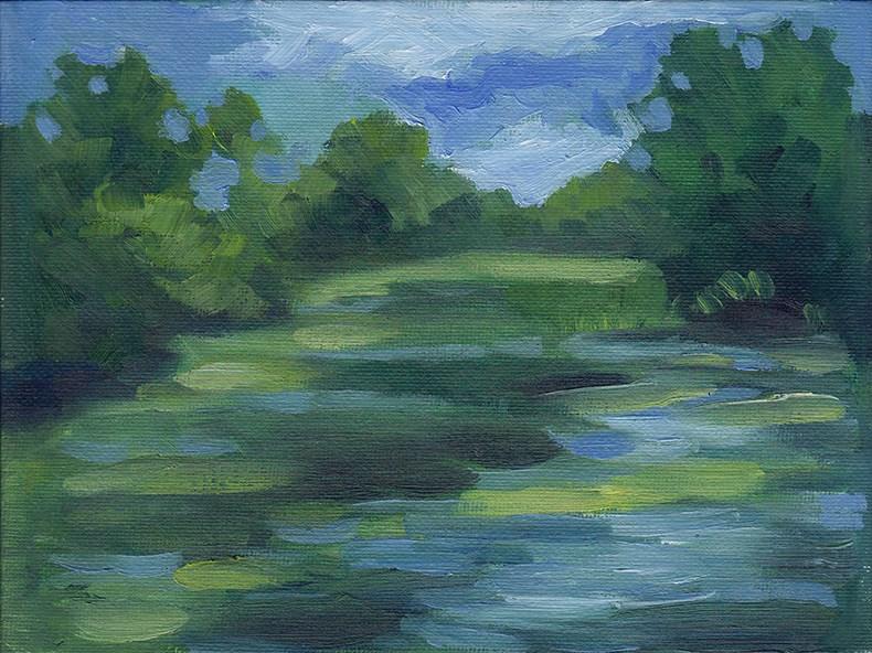 """River Ivel Reeds"" original fine art by J M Needham"