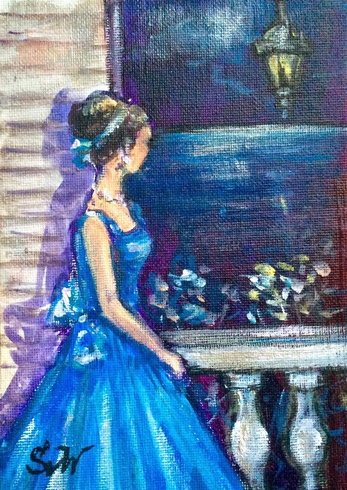 """Lady in blue painting"" original fine art by Sonia von Walter"