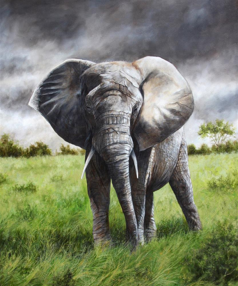 """African Elephant"" original fine art by Aaron Grabiak"
