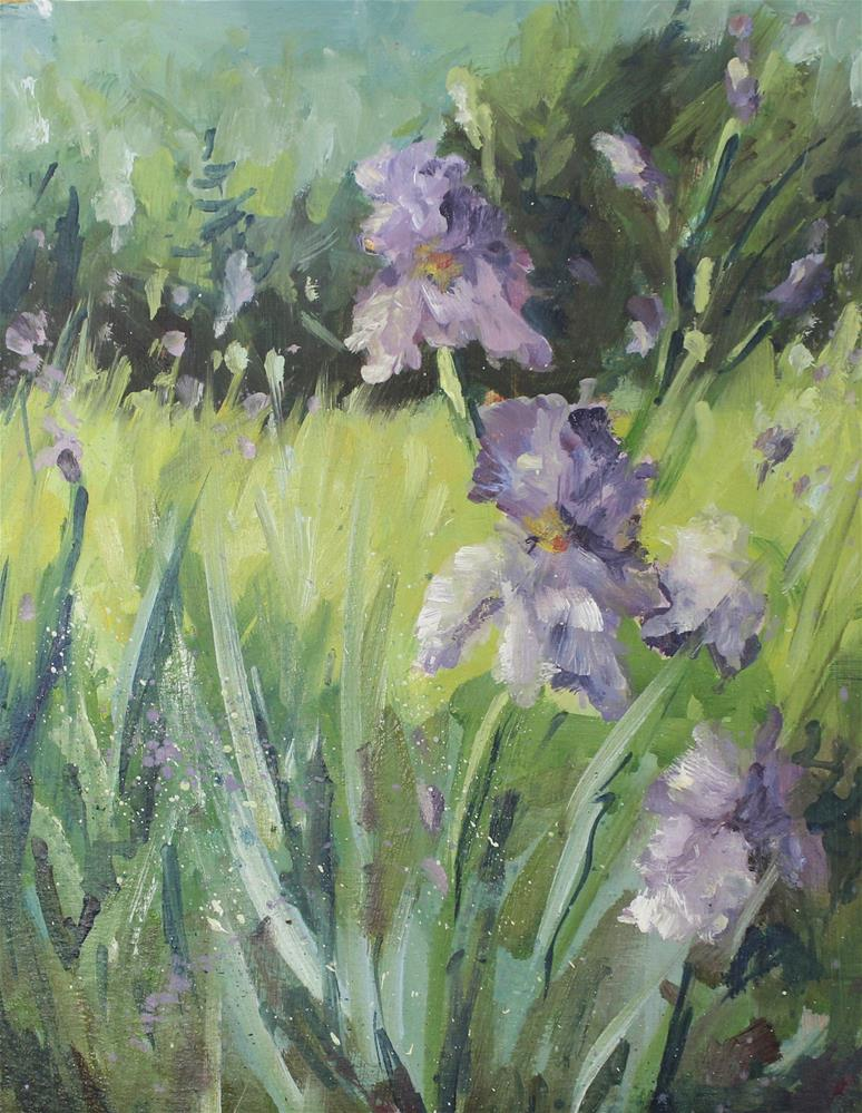 """Trail Iris Floral Flower Landscape Oil Painting"" original fine art by Alice Harpel"