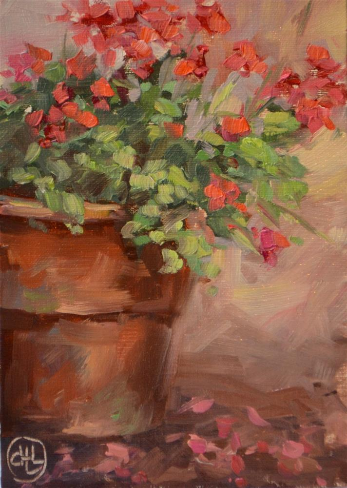 """cascade of pink"" original fine art by Dottie  T  Leatherwood"