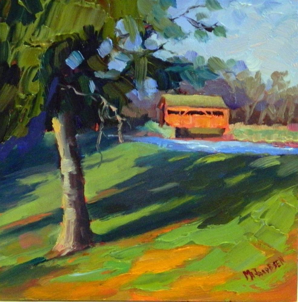 """Indian Summer, 6x6, oil on panel, paintings of covered bridges, red bridge farm, Elverson, Pennsyl"" original fine art by Maryanne Jacobsen"