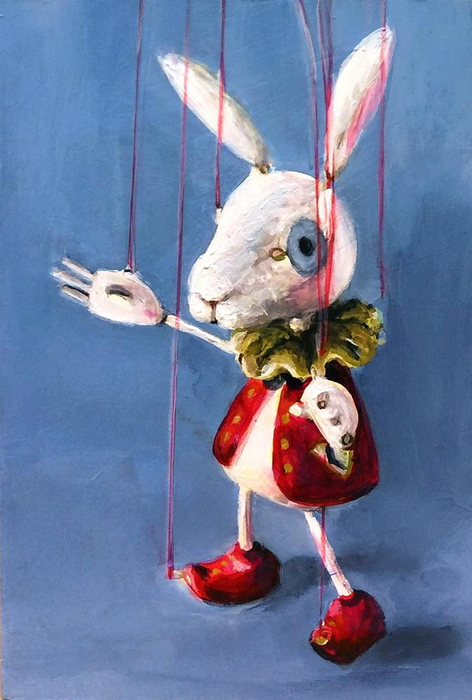 """Rabbit #3 sakuma sota marionette- 30 in 30 challenge (#5)"" original fine art by Sunny Avocado"
