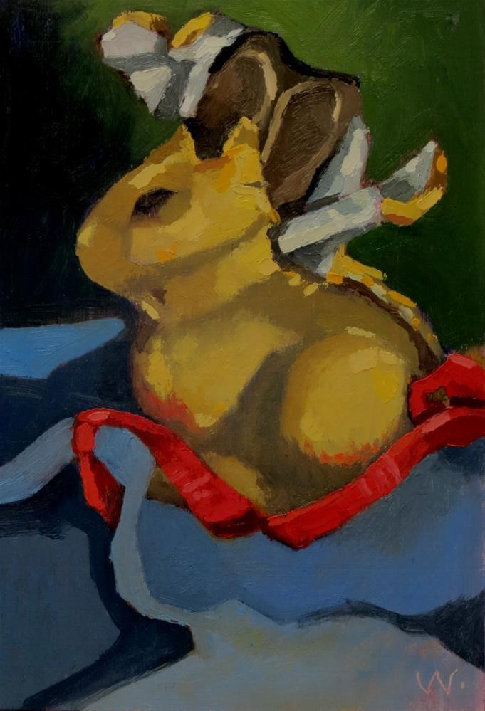 """Bunny Disrobed"" original fine art by Joan Wiberg"