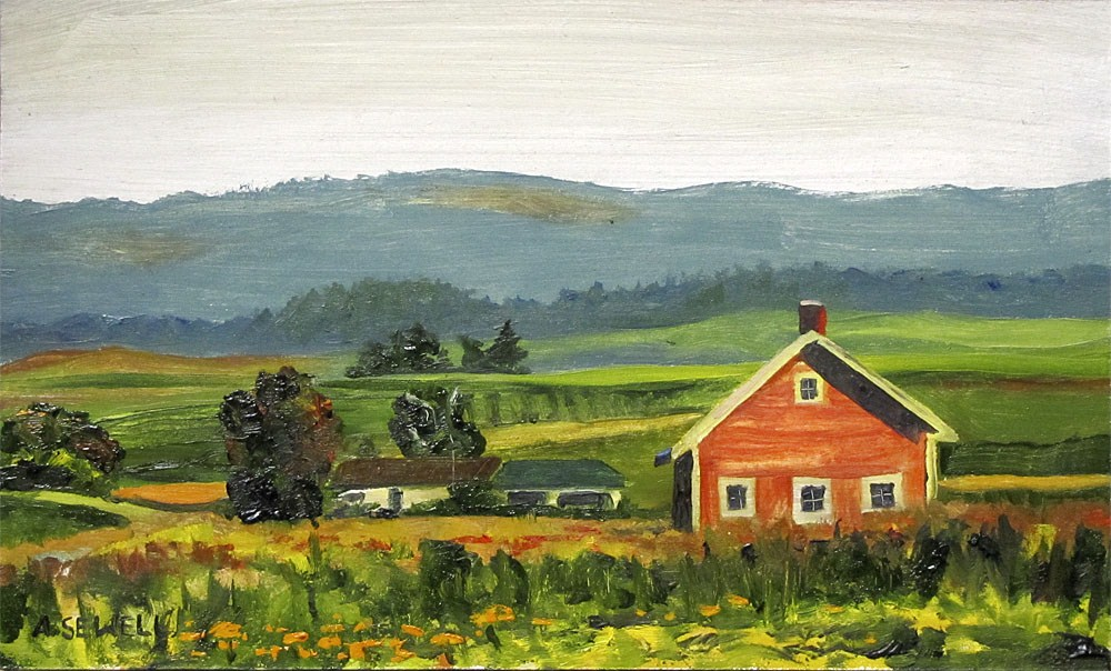 """Zinnias in the Pasture"" original fine art by Andy Sewell"