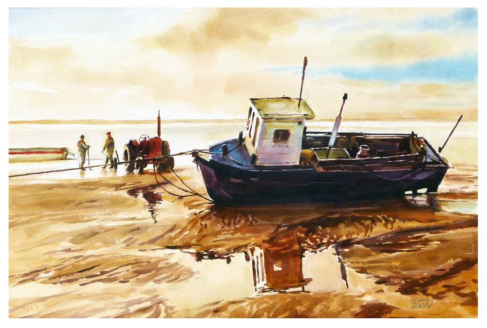 """Red tractor and boat."" original fine art by Graham Berry"