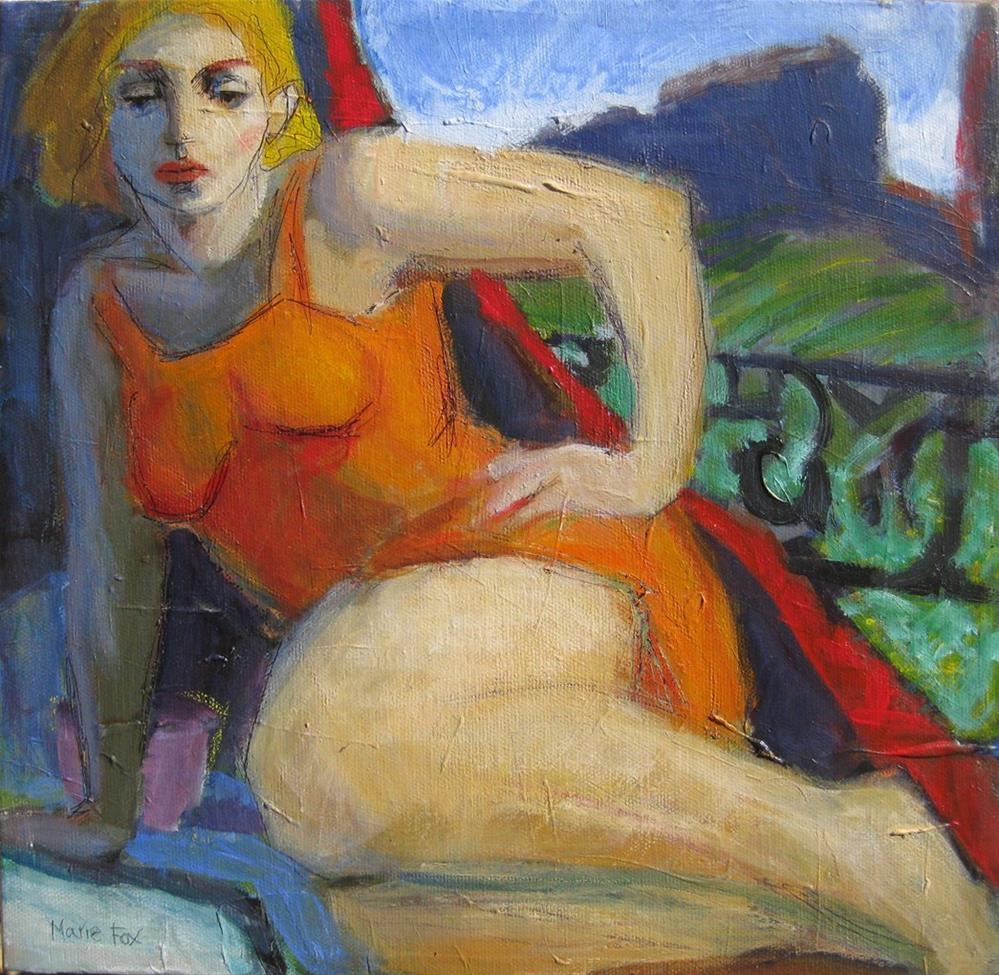 """Out West, woman in New Mexico, figurative female, woman painting women, mountain woman, contemporary"" original fine art by Marie Fox"