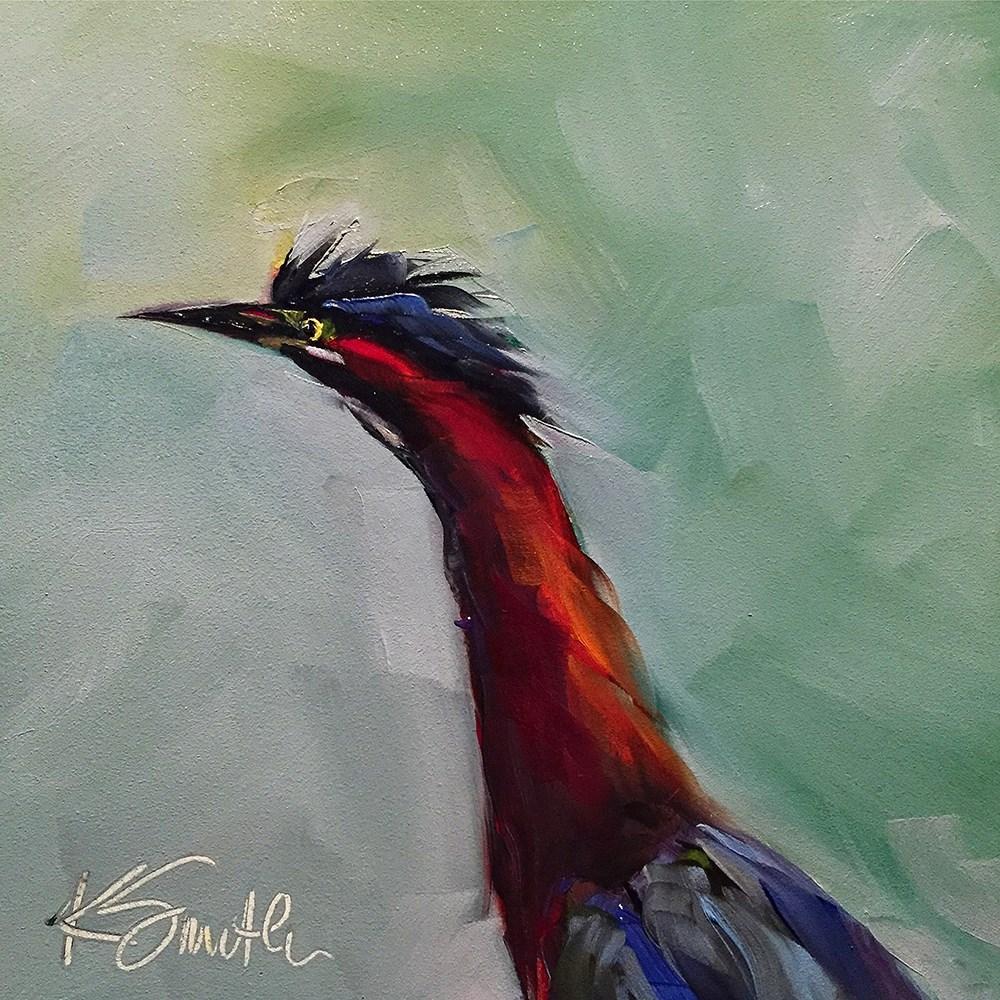 """green heron"" original fine art by Kim Smith"