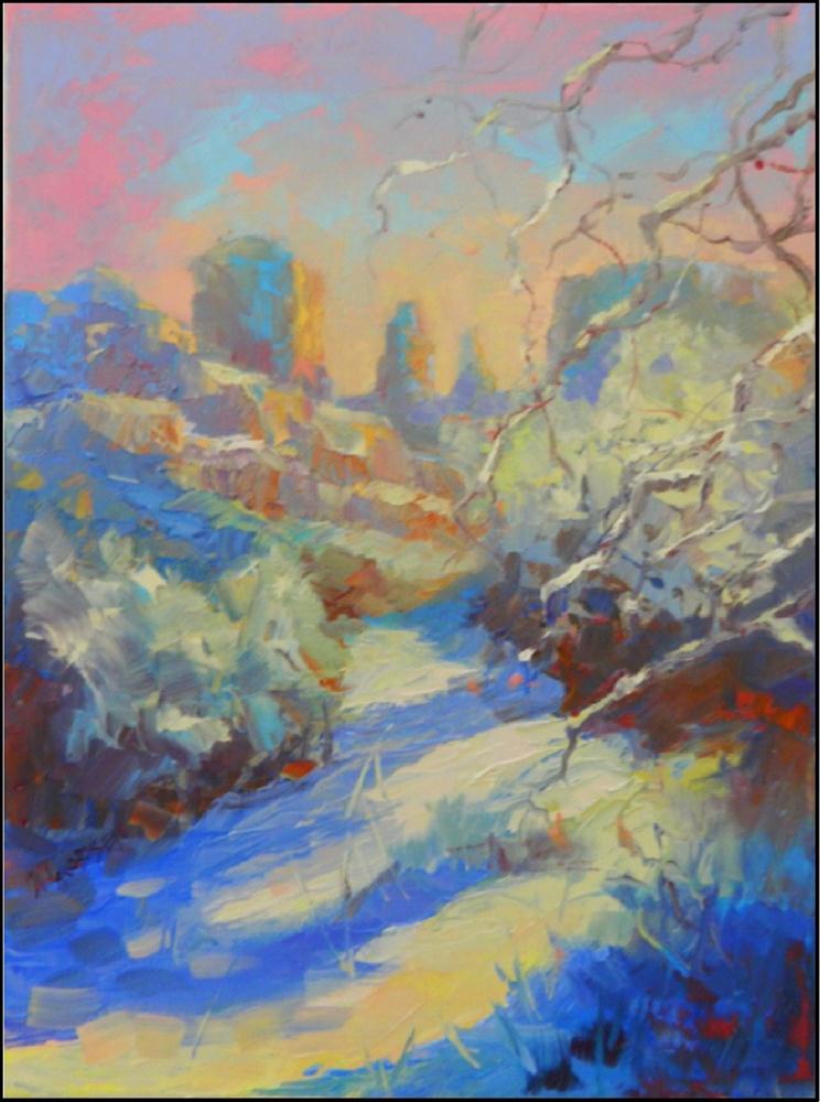 """Late Season Snowfall"", 12x16, oil on canvas by Maryanne Jacobsen original fine art by Maryanne Jacobsen"