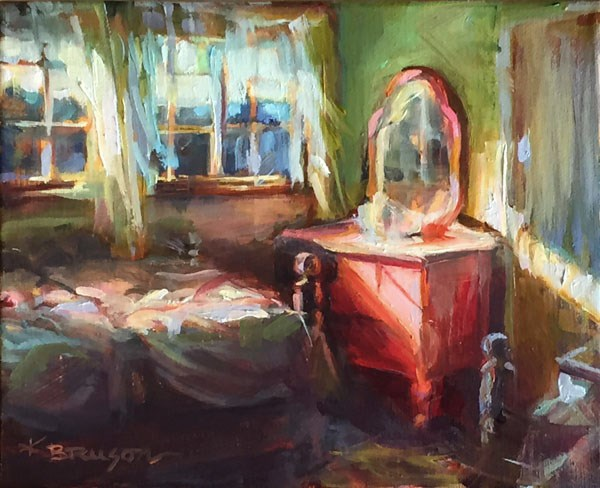 """Pink Dresser"" original fine art by Karen Bruson"
