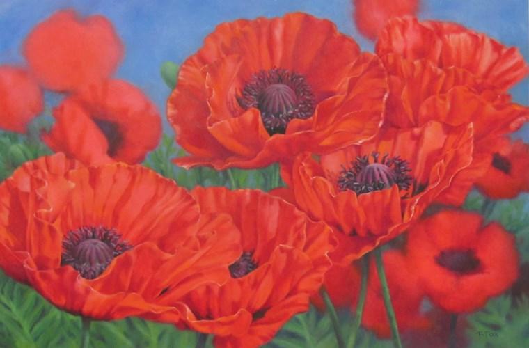 """Poppy Party"" original fine art by Barbara Fox"